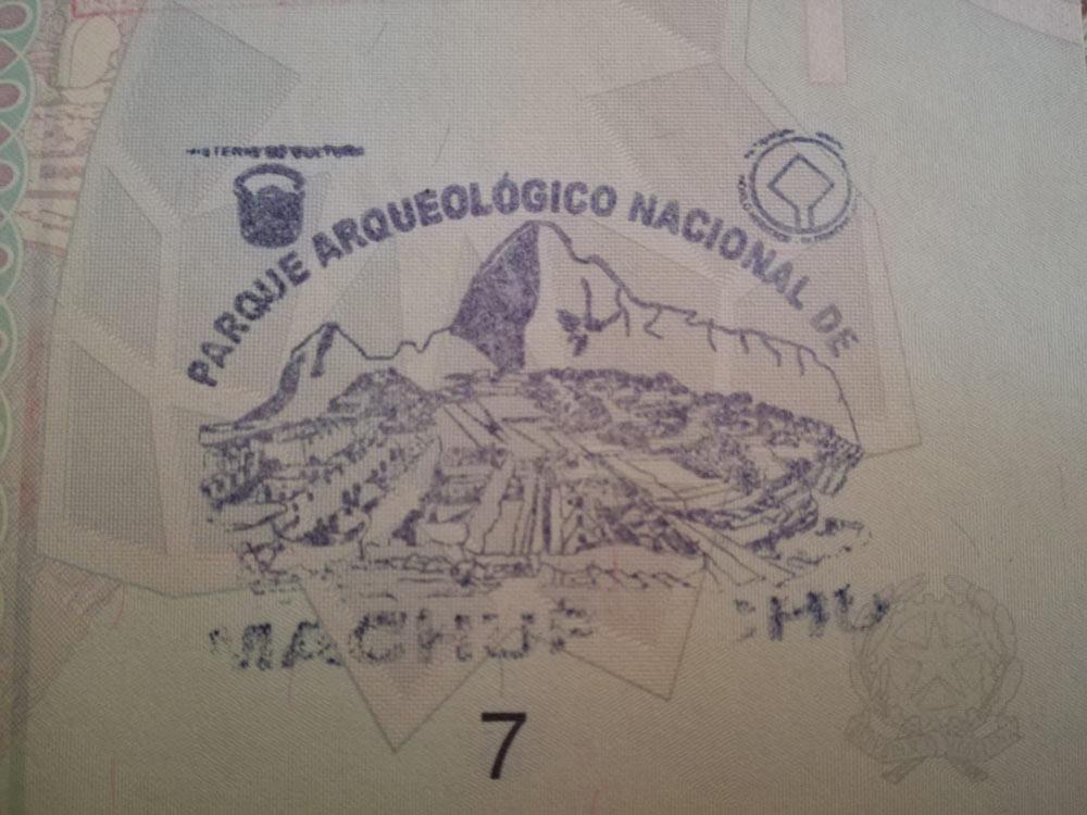 Timbro sul passaporto di Machu Picchu
