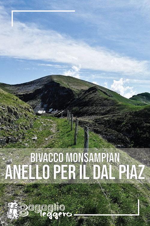 Bivacco Monsampian e anello con il Rifugio Dal Piaz pin