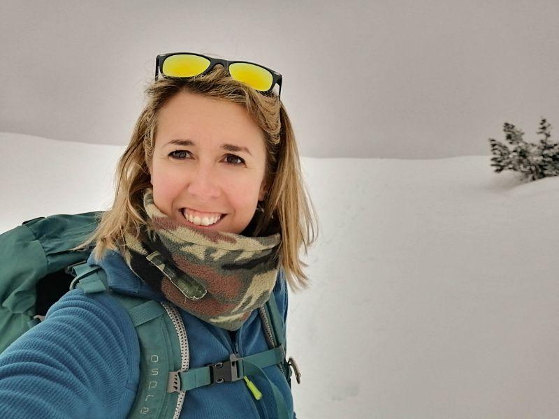 Silvia durante scialpinismo